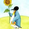 pinguin mit sonnenblume